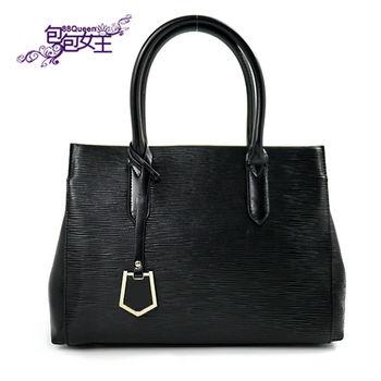 【88Queen❤包包女王】真皮★經典牛皮提包-黑色