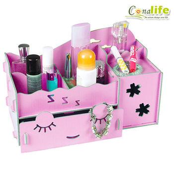 [Conalife]超實用好幫手木製DIY多用途收納盒組-面紙盒多功能收納架(1入)