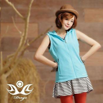 【Drago】刷毛中空保暖纖維連帽背心-土耳其藍   時尚搭配輕盈好穿