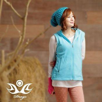 【Drago】刷毛中空保暖纖維連帽背心-麻花藍(超值任選) 時尚搭配輕盈好穿