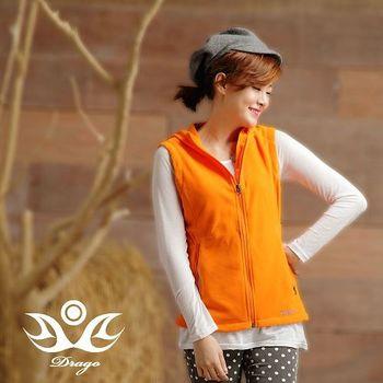 【Drago】刷毛中空保暖纖維連帽背心-香甜橘  時尚搭配輕盈好穿