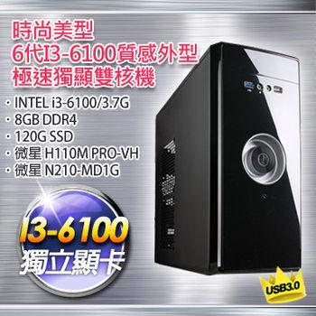 【微星平台】時尚美型(i3-6100-3.7G/H110M PRO-VH/1G獨顯/8G DDR4/120G SSD)極速獨顯雙核機