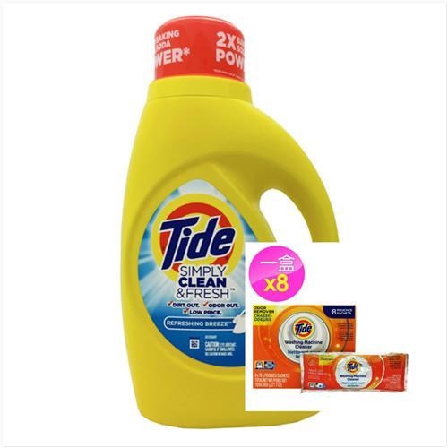 【美國 Tide】濃縮洗衣膏-清新微風香(60oz/1770ml)*1+洗衣槽洗潔劑(75g*8/盒)