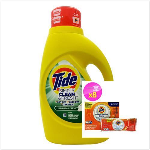 【美國 Tide】濃縮洗衣膏-清新柑橘(60oz/1770ml)*1+洗衣槽洗潔劑(75g*8/盒)