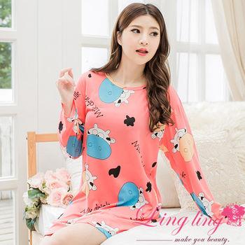 lingling日系 全尺碼-乳牛英文字母長袖連身裙睡衣(俏麗桔粉)A2526-01