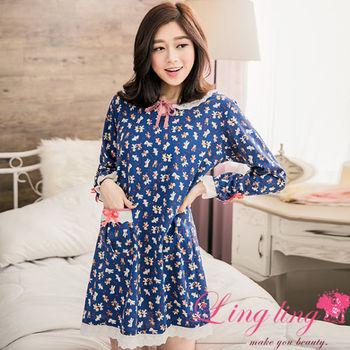 lingling日系 全尺碼-滿版熊熊布蕾絲滾邊口袋蝴蝶結長袖連身裙睡衣(自信藍)A2826