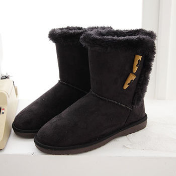 《DOOK》雪靴-經典牛角扣+絨毛滾邊保暖短靴-黑色