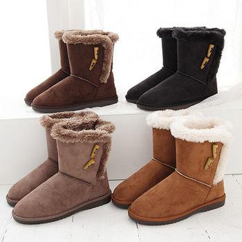 《DOOK》雪靴-經典牛角扣+絨毛滾邊保暖短靴-四色選