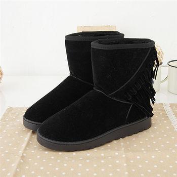 《DOOK》雪靴-可愛率性斜織流蘇保暖短靴-黑色