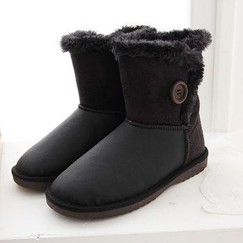 《DOOK》側邊圓扣皮革絨面拼接雪靴-黑色