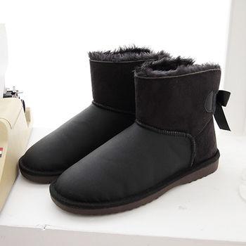 《DOOK》皮革絨毛拼接蝴蝶結後綁帶雪靴-黑色