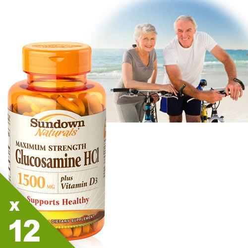 【美國Sundown日落恩賜】倍效葡萄糖胺+D3x12瓶分享組(60錠/瓶)
