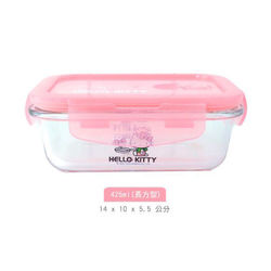 正版Hello Kitty耐熱玻璃保鮮盒425ml(長方型)