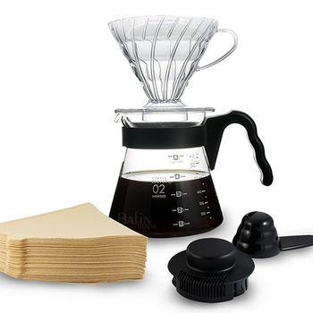 【日本 HARIO】4人份 V60 透明濾泡咖啡壺組 (附 100張濾紙)