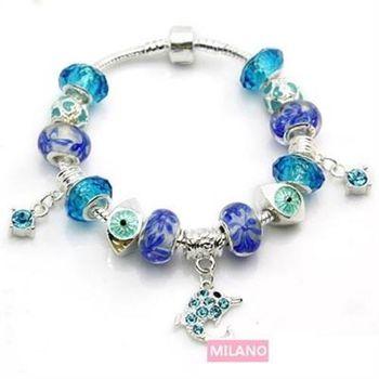 【米蘭精品】潘朵拉元素串珠手鍊925純銀琉璃飾品