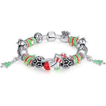 【米蘭精品】潘朵拉元素串珠手鍊925純銀聖誕配件