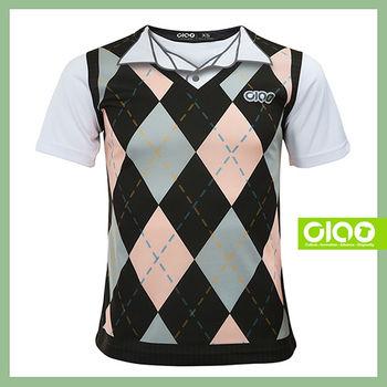 【CIAO TAIWAN】原創潮流設計T恤 Coolmax吸溼排汗/抗UV衫-英倫菱格紋_黑白