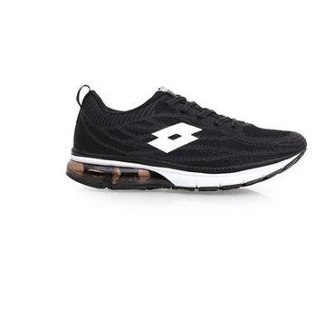 【LOTTO】男WAVEKNIT編織氣墊跑鞋-路跑 慢跑 黑白