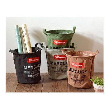 日本 MERCURY 復古 露營居家 多功能 防水收納袋 - 圓桶 M (共4色)