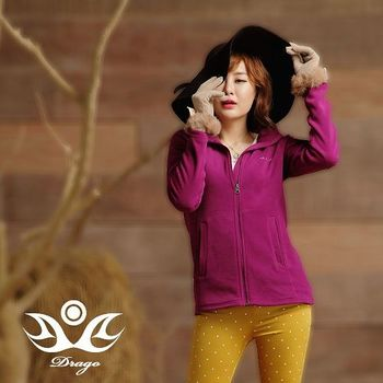 【Drago】刷毛中空保暖纖維連帽外套-鮮茄紫(超值任選)  比iPhone還輕的刷毛外套!