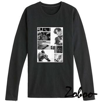 【ZOBOO】ZA022(黑白樂聲共鳴純棉長袖T恤)