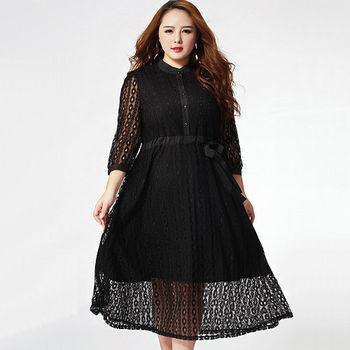 【KVOLL中大尺碼】黑色小立領蕾絲縷空連身長裙