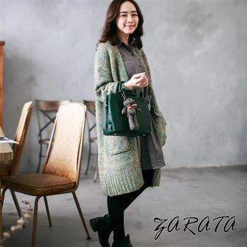 【ZARATA】開襟式混針織色系口袋長版針織外套(綠色)