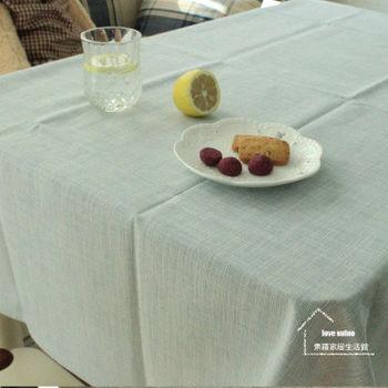 【協貿】時尚簡約百搭棉麻素色淺藍桌布