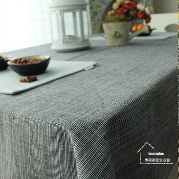 【協貿】時尚簡約百搭棉麻素色藏藍桌布