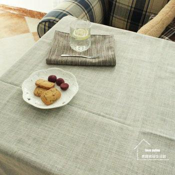【協貿】時尚簡約百搭棉麻素色淺灰桌布