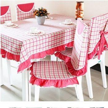 【協貿】高檔精美面料褶子花邊紅綠格桌布