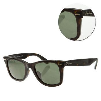 【Ray Ban】亞洲版- 墨綠琥珀太陽眼鏡(RB2140-F 902) WAYFARER
