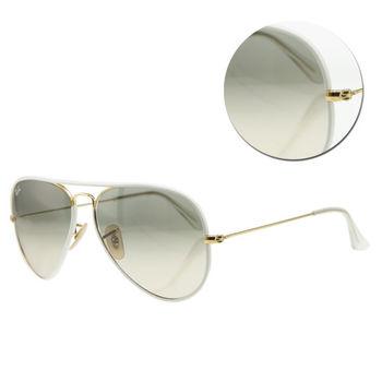 【Ray Ban】飛官漸層灰色白框太陽眼鏡(RB3025JM 146/32) FULL WHITE