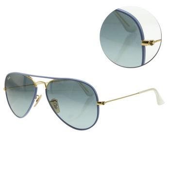 【Ray Ban】飛官深藍藍色金框太陽眼鏡(RB3025JM 001/4M-) FULL BLUE