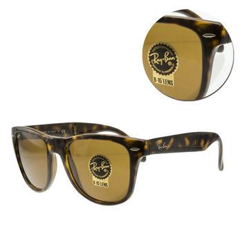 【Ray Ban】方形茶色琥珀全框太陽眼鏡-大版(RB4105 710)