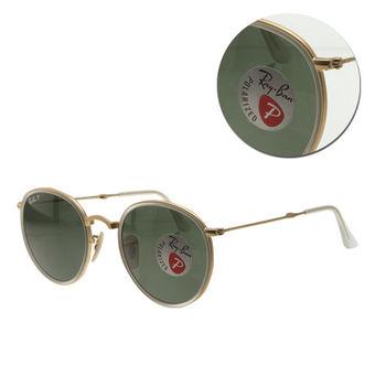 【Ray Ban】偏光圓形墨綠金框太陽眼鏡-玻璃摺疊(RB3517 112/N5) 摺疊款