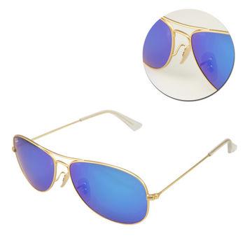 【Ray Ban】經典水銀藍色金框太陽眼鏡(RB3362 112/17)