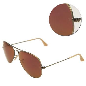【Ray Ban】經典飛官水銀紅色銅框太陽眼鏡(RB3025 167/2K)