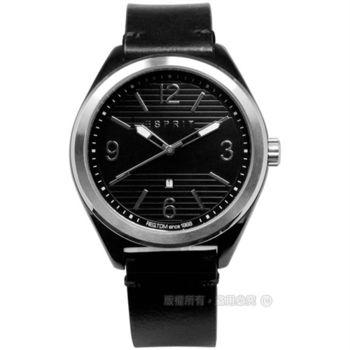 ESPRIT / ES108371004 / 浪漫柔美時尚真皮腕錶 黑色 44mm