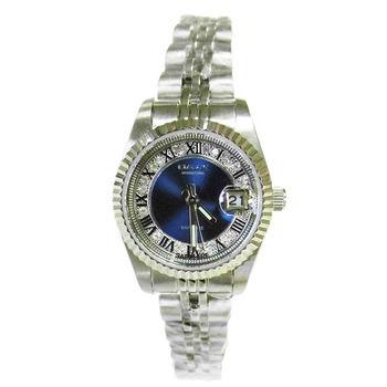 【OMAX】經典貴氣晶鑽藍色不鏽鋼女錶-小型錶款(藍色)
