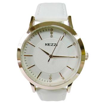 【KEZZI】高雅皮質錶帶女性大錶(白色)