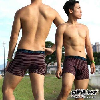 【aDLer】條紋長版四角內褲(紅)