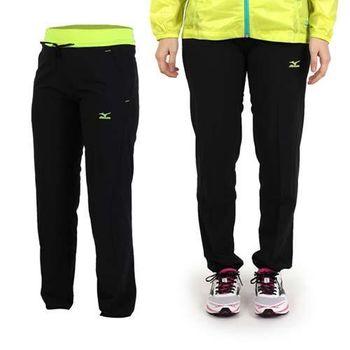 【MIZUNO】女雙口袋設計平織長褲-風褲 防風 慢跑 路跑 美津濃 黑螢光綠