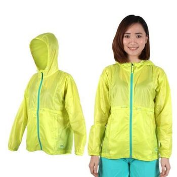 【MIZUNO】女拉鍊口袋風衣外套-防風 慢跑 路跑 美津濃 螢光黃湖水綠