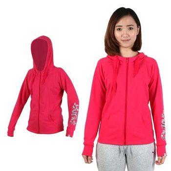 【PUMA】女連帽外套-慢跑 路跑 刷毛 保暖 桃紅  60%棉