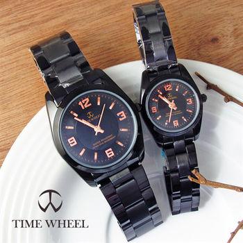 TIME WHEEL簡約質感情侶黑鋼帶錶