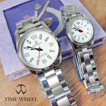 TIME WHEEL簡約質感情侶鋼帶錶