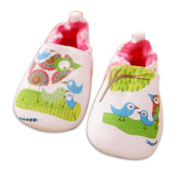 純棉軟底防滑嬰兒學步鞋【2雙入】-小鳥+隨機一雙