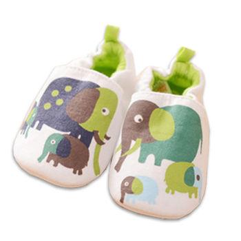 純棉軟底防滑嬰兒學步鞋【2雙入】-大象+隨機一雙