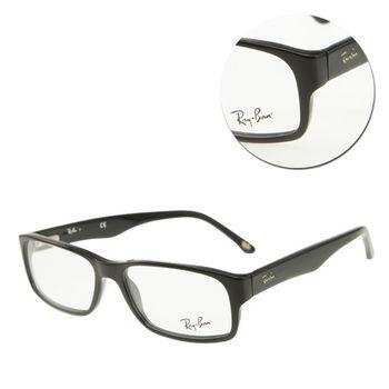 【Ray Ban】斯文長方黑框光學眼鏡(RB5203-2000)